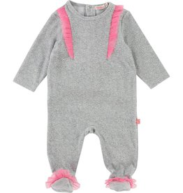 Billieblush Billieblush Baby Velour Backsnap Footie with Tulle Trim