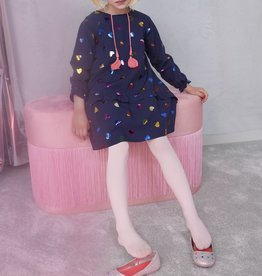 Billieblush Billieblush Long Sleeve Irridecent Heart Print Dress