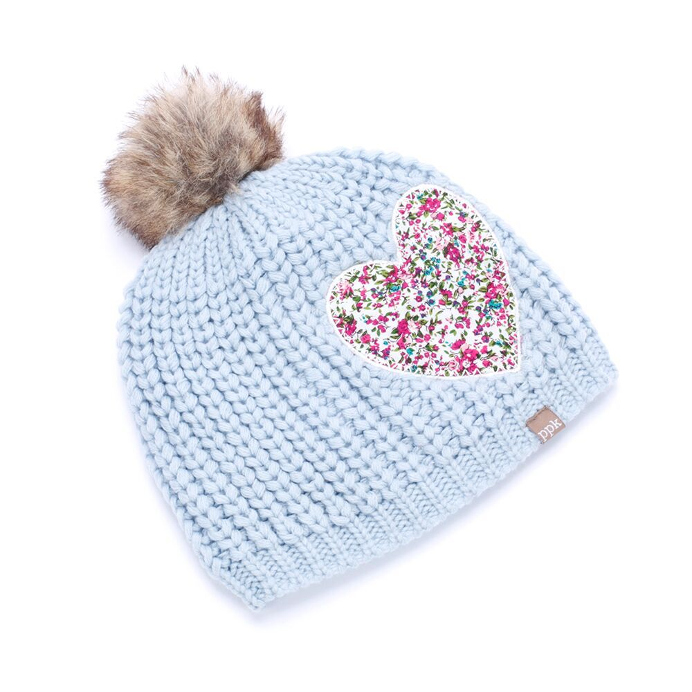 Peppercorn Kids Peppercorn Kids Chunky Rib Pompom Beanie with Floral Heart Patch