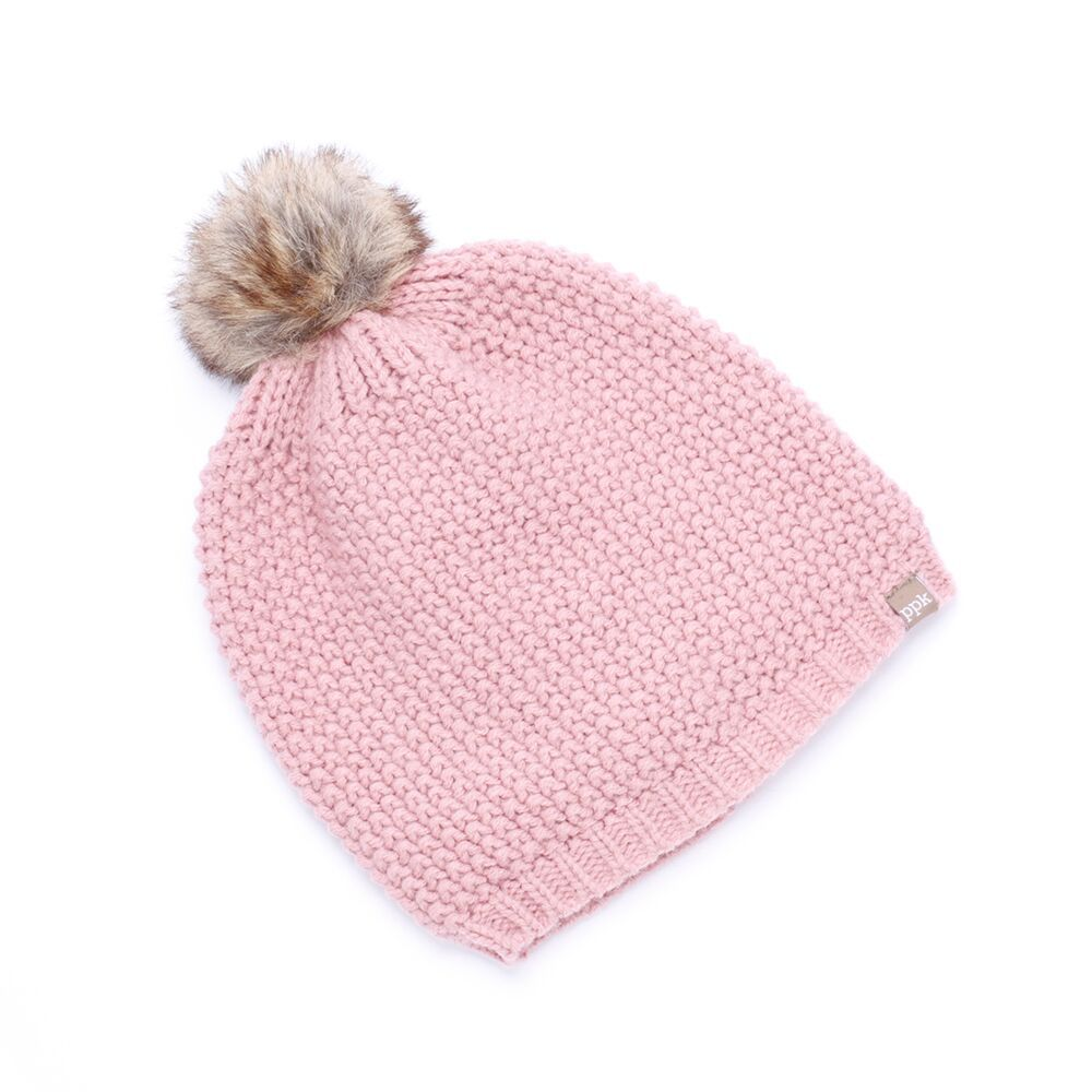 Peppercorn Kids Peppercorn Kids Textured Knit Faux Fur Pompom Beanie