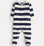 Joules Joules Cosmo Velour Stripe Babygrow Footie