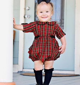 RuffleButts Tristan Plaid Peter Pan Bubble Romper