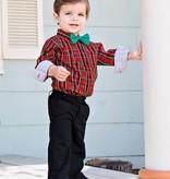 RuffleButts Tristan Plaid Button-Up Bodysuit