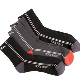 Endura CoolMax Stripe Socks Mixed 3-Pack - Black/Grey Stripe - S/M