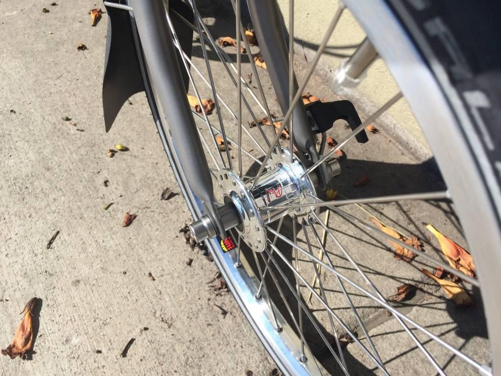 Brompton Front Wheel, Phil Wood Silver Hub, Sun Ringle PolishedRim