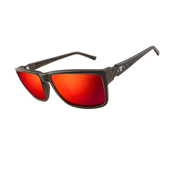 TIFOSI OPTICS Hagen XL, Distressed Bronze Polarized Sunglasses Clarion Red Polarized