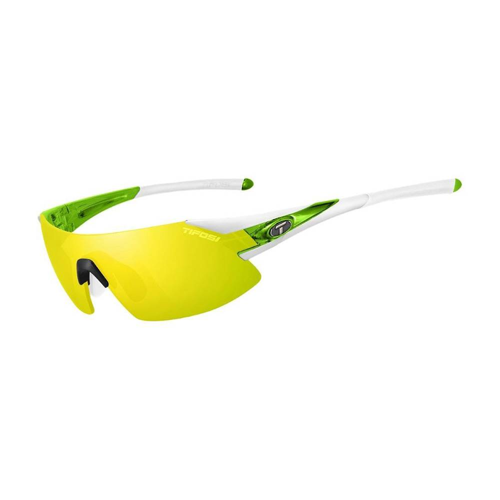 TIFOSI OPTICS Podium XC, White/Green Interchangeable Sunglasses Clarion Yellow/AC Red/Clear