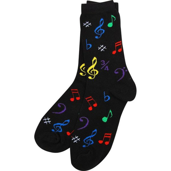 Socks - Women's Black with Multicolored Notes