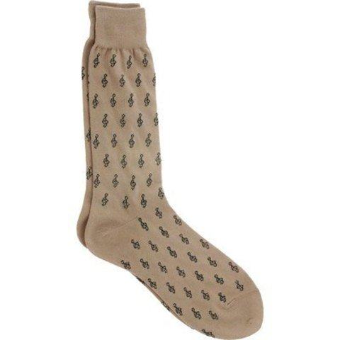 Socks - Men's Mini G-Clefs, Khaki