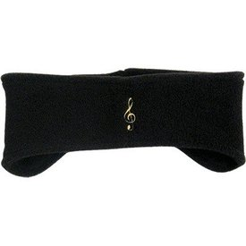 Treble Clef Fleece Headband, Black