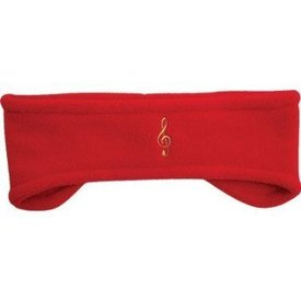 Treble Clef Fleece Headband, Red