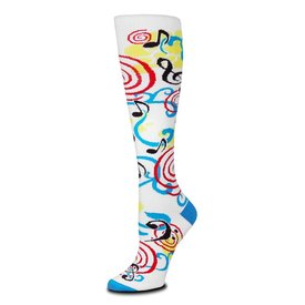 Socks - Women's Music Swirls Knee Highs