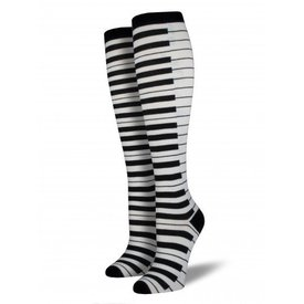 Socks - Women's Black/White Piano Keys Knee Highs