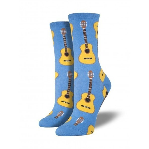Socks - Women's Cornflower Blue w/Natural Guitars