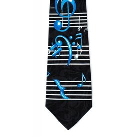 Music Notes on Black Jacquard Tie