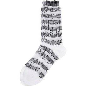Socks - Women's White Staff & Keyboard