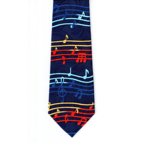 Bright Scores on Navy Jacquard Tie