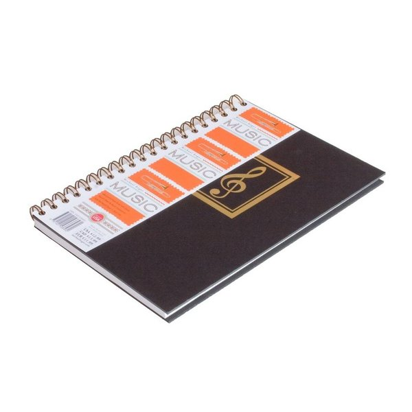 Journal Basic Black Music Notebook (Large), Wirebound