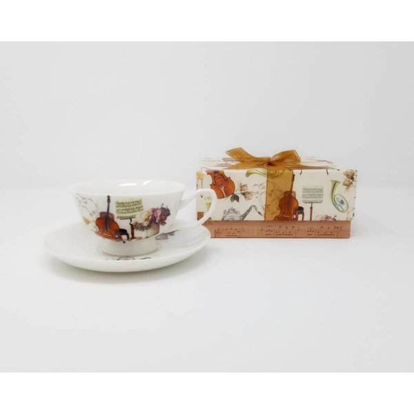 Musical Instrument Cup & Saucer Set in a Gift Box