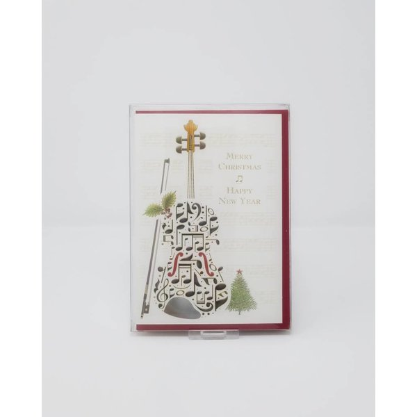 Embossed Violin Christmas Cards