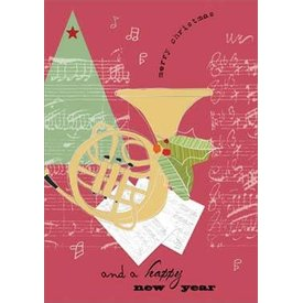 French Horn & Holly Christmas Cards