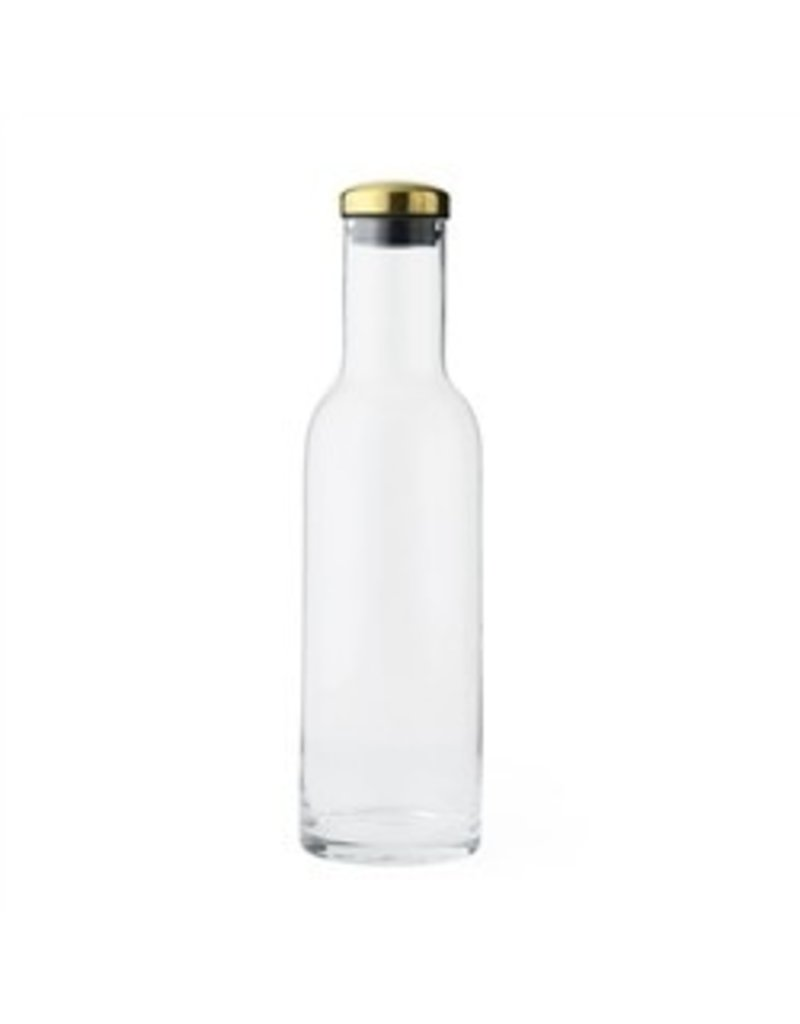 Tall Glass Water Bottle with Brass Lid, 34 oz