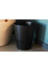 Black Wood Trash Basket
