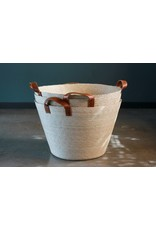 Tall Floor Basket in Natural with Leather Handles