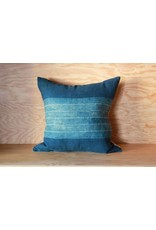 Indigo Pillow with Wide Stripe