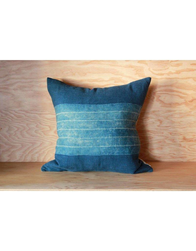Indigo Pillow with Wide Stripe