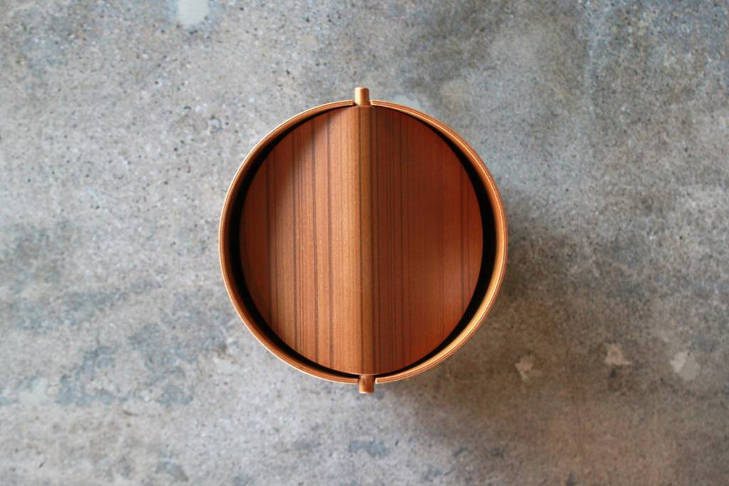 Japanese Ayous Wood Paper Basket with Swing Lid