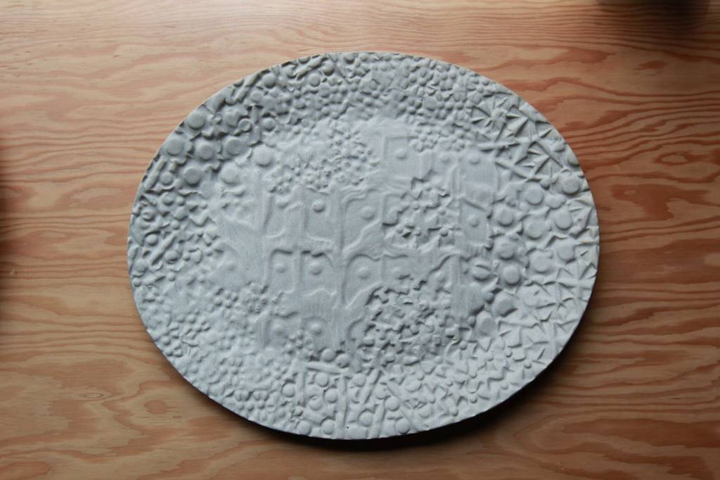 Irving Place Studio White Stamped  Ceramic Platter