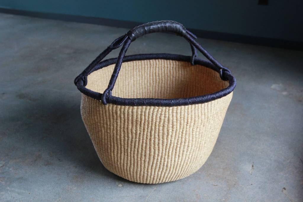 Basket With Black Trim And Leather Handle ...