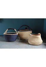 Basket with Black trim and Leather Handle