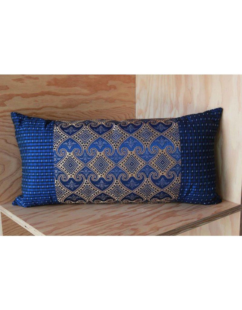 Blue, Gold Myanmar Pillow