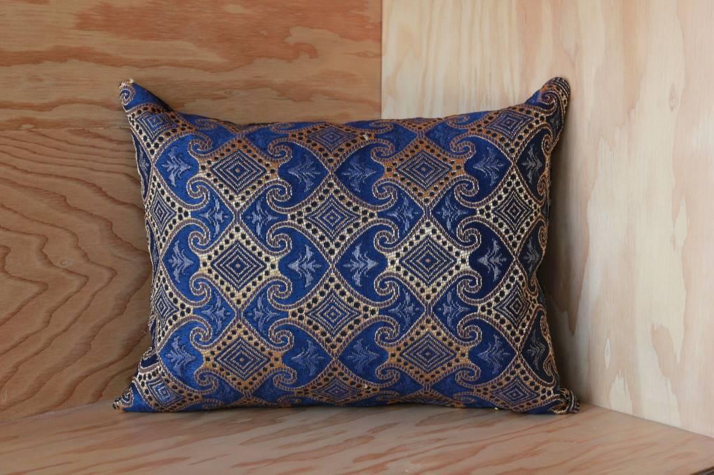 Myanmar Blue, Gold Throw Pillow