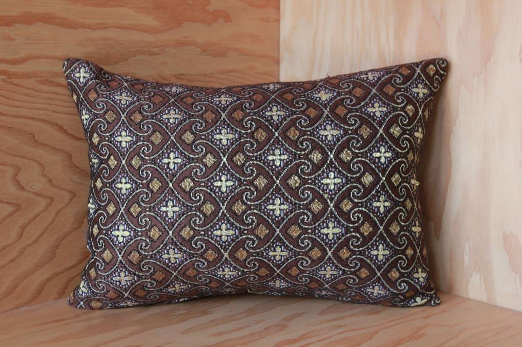 Brown, Gold  and Cream  Myanmar Pillow