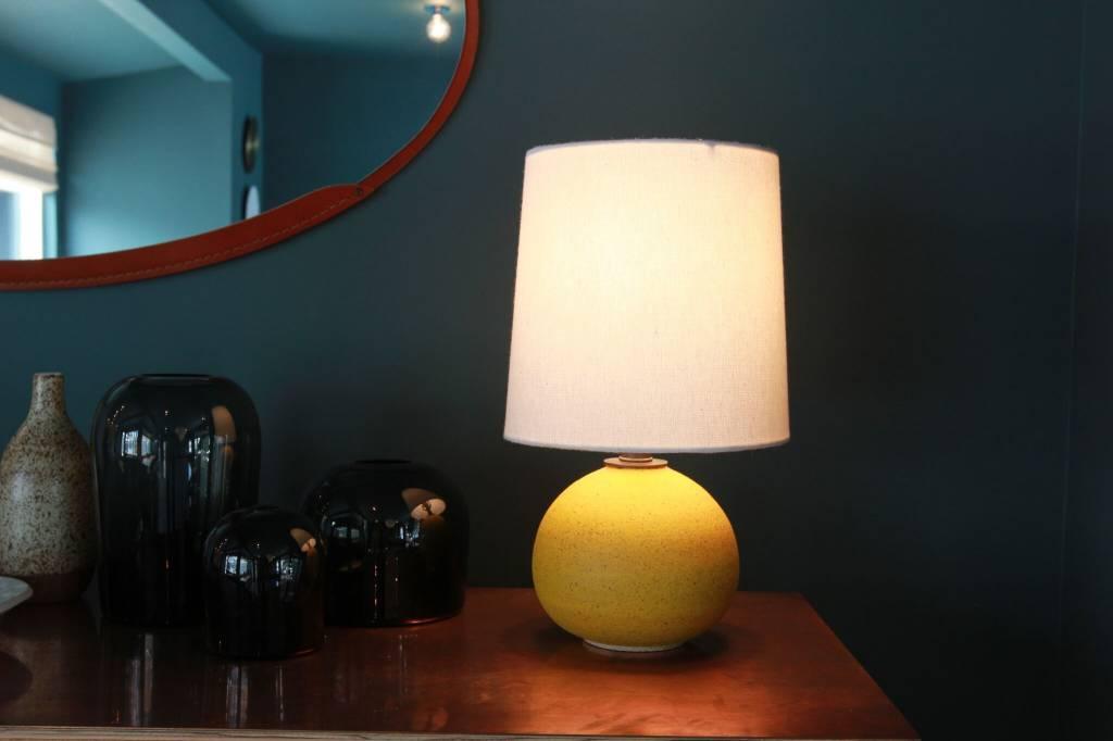 Ceramic Small Orb Yellow Lamp