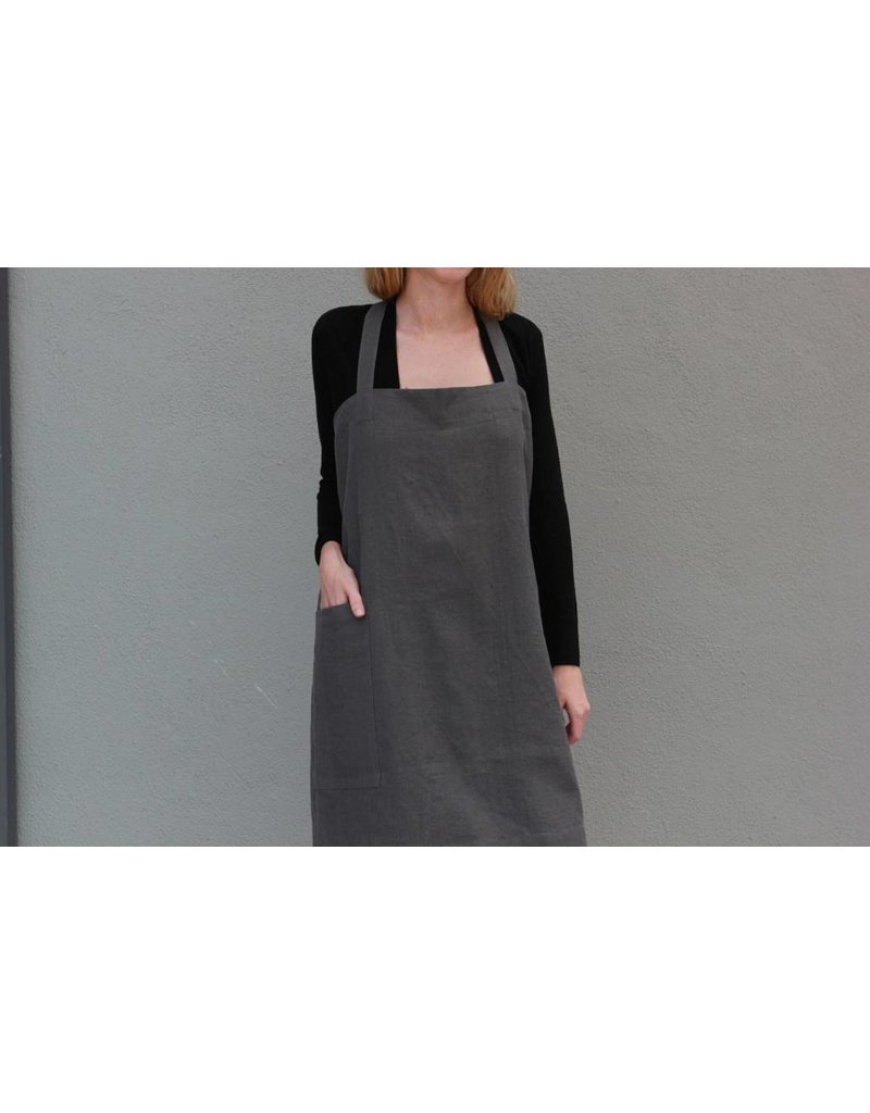 Linen Apron in Charcoal Grey