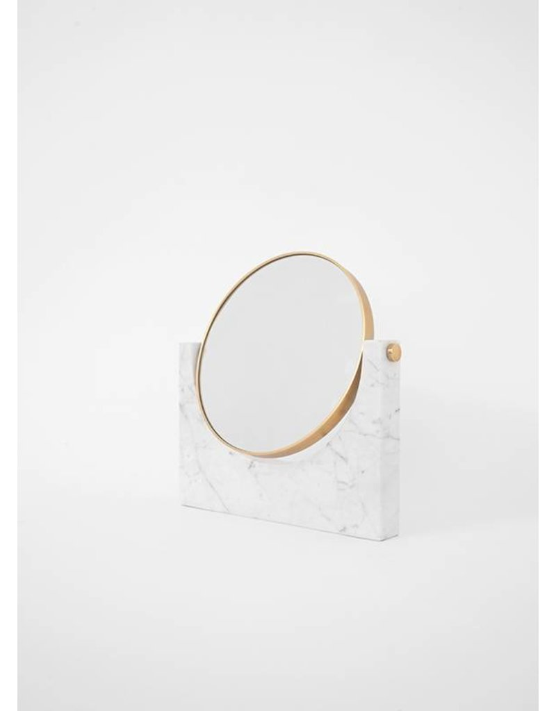 White Marble  and Brass Table Mirror