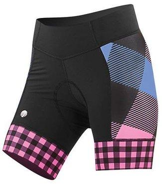 SheBeest Spandex Shorts: Daisy - Tri Gingham,