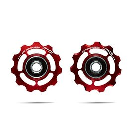 Ceramic speed PULLEY WHEELS, SHIMANO 11S ROUTE & MTB, ALU, ROUGE, NON COATED