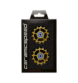 Ceramic speed ULLEY WHEEL FOR EAGLE 14 COATED , SRAM EAGLE 1-12,  14T, OR/GOLD, ALU/ALLOY,