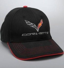 Apparel C7 Structured Hat Black with Red Trim