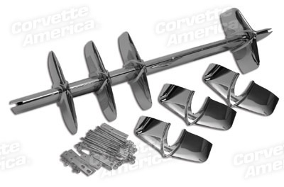 Body 1958-60 Front Grille Assembly with Grille Bar, Teeth, Studs, Backplates and Bar Mount Brackets
