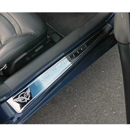 Interior 1997-2004 Chrome 'Billet' Sill Protector with Logo Pair