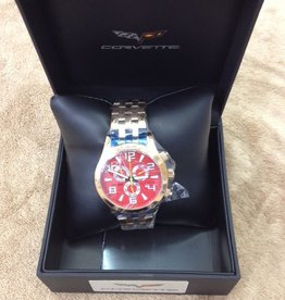 Jewelry C6 Chronograph Watch Red Face with Gold Metal Band
