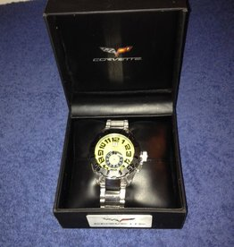 Jewelry C6 Chronograph Watch Yellow Face with Silver Metal Band