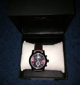Jewelry C6 Chjronograph Watch Maroon Face with Dark Leather Band
