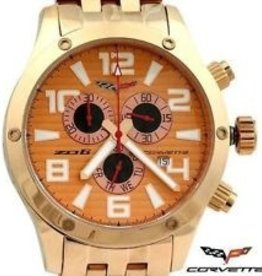 Jewelry C6 Chronograph Watch Gold Face with Gold Metal Band